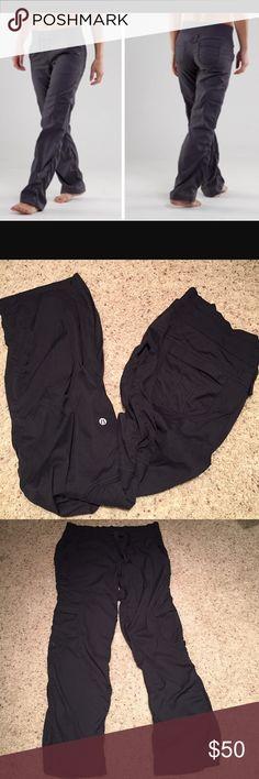 Lululemon Yoga Camp Pants. Lululemon black camp pant. Excellent condition.  Size 12. 94% nylon 6% spandex. Size tag intact. lululemon athletica Pants Track Pants & Joggers