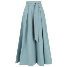 Temperley London Blueberry Tailoring Ruffle Culottes ($595) ❤ liked on Polyvore featuring pants, capris, skirts, blue, cropped, ruffled trousers, blue trousers, tailored pants, wide leg trousers and blue wide leg trousers