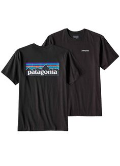 P-6 Logo Cotton Tee shirt in Black by Patagonia