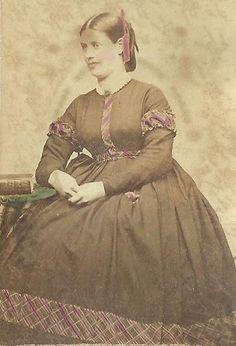 CDV Photo Beautiful Young Woman Fancy Large Hoop Dress Hand Tinted Civil War Era   eBay