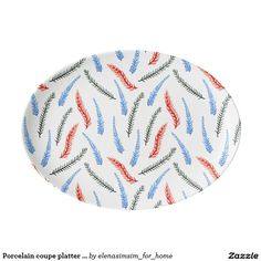 Porcelain coupe platter with branches