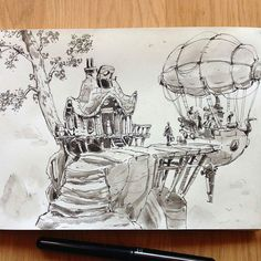 This #penandink #airship #illustration by @ullikummi is entitled Passengers. Living up on top of a mountain has its perks. The view is great Fresh air. No neighbors throwing wild parties. No solicitors. But getting to work can often be difficult.  Thankfully with M.O.V.E. the Mountaintop Overland Vehicle Exchange you and your family can live in pure blissful isolation and still get to work on time! . Thought Id change it up a bit with a little silly advertisement. Weve shared Ullikummis…