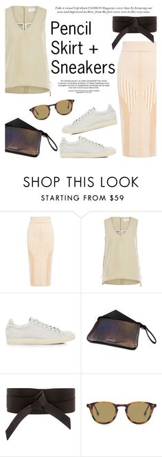 """""""Pencil Skirt and Sneakers"""" by ifchic ❤ liked on Polyvore featuring Finders Keepers, Tanya Taylor, IRO and Mohzy"""