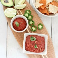 This salsa recipe combines roasted tomatoes and peppers with herbs and spices for a fresh and flavorful homemade salsa!