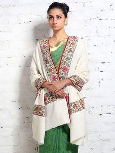 Hand Embroidered Border Pure Kashmiri Pashmina Shawl