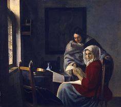 Girl interrupted at her music, 1661 by Johannes Vermeer. Baroque. genre painting. Frick Collection, New York, USA