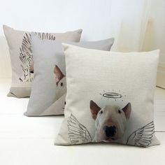 Hot Sale Bull Terrier Cheap Cushion Cover Pet Funny Dog Soft Material Pillow Case Bedroom Decorcoussin nordic decoration cojines