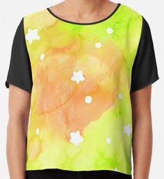 Summer Night Dreams Starry sky  Chiffon Top Watercolor Circles, Watercolor Texture, Watercolor Pattern, Abstract Watercolor, Yellow Art, Green Art, Mermaid Art, Conceptual Art, Wearable Art