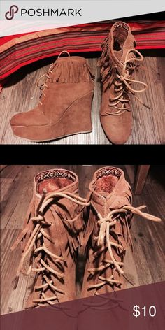 Bamboo Wedge Fringe Booties with Laces - Size 8 Worn once- excellent condition (like new). Super boho and cute. Shoes Ankle Boots & Booties
