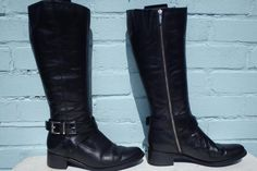 Sexy Black Sergio Rossi Pull On All Leather Boots