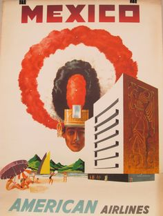Original Vintage American Airlines Mexico Poster by HodesH on Etsy, $50.00