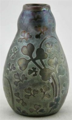 "Weller Pottery, Sicard line; tapered, double-gourd vase, shamrock decoration, 5""h"