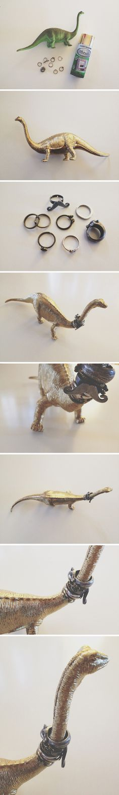 diy dinosaur ring holder - gold spray paint - walk in love