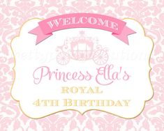 PInk/GOld Damask PRINCESS CARRIAGE Welcome by PrettyPartyCreations, $7.50