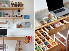 A escrivaninha no quarto de Gabriel, 8 anos, filho da arquiteta Leila Bittencourt, tem gaveta com divisórias para pequenas peças de brinquedo (Foto: Edu Castello)