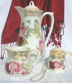RARE Altenburg Germany Antique Vintage Tea Coffee Chocolate Set Roses | eBay