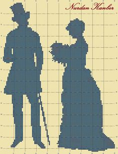 0 point de croix silhouette lady and gentleman- cross stitch