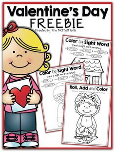 This mini Valentine\'s Day Freebie includes 2 Color by Sight Word sheets and a Roll, Add and Color page.