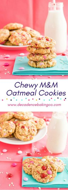 Chewy M&M Oatmeal Cookies: A chewy oatmeal cookie sweetened with brown sugar. These oatmeal cookies are full full of M&M's, white chocolate chunks, and sprinkles!