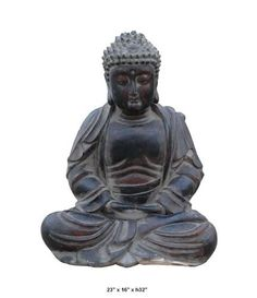 This old but elegant Buddha is made of solid wood and hand carved. the carving is very detailed and precise.    The Buddha is peacefully sitting and in a meditation position. This is a nice art work worth of being collected.