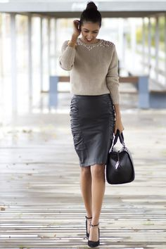 Leather & Knit office chic