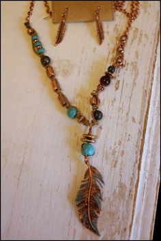 Boho LEAF DROP BEADED STRAND NECKLACE & EARRING SET Copper, Patina, Turquoise