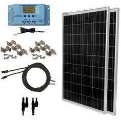 Global Solar Supply 200 Watt Solar Panel Kit: Solar Panels LMS, PWM Charge Controller Solar Cable Connectors Mounting Brackets for Off-Grid RV Boat 100 Watt Solar Panel, Rv Solar Panels, Solar Panel Kits, Solar Panels For Home, Lg Tv Wall Mount, Wall Mounted Tv, Solar Energy, Solar Power, Renewable Energy
