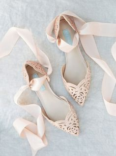 Blush Crystal Bridal Shoes with Ribbon Ties