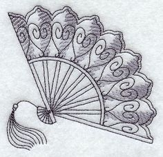 Victorian Treasures Fan design (G3502) from www.Emblibrary.com Folk Embroidery, Machine Embroidery Designs, Embroidery Patterns, Quilling Flowers Tutorial, Photo Collage Maker, Fan Drawing, Fan Tattoo, Japanese Tattoo Art, Mandala Design