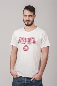 """Ανδρικό T shirt """"Double Challenge"""" White"""