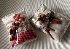 Weihnachtsdeko - Duftbeutel weihnachtlich rot oder creme - ein Designerstück von gittirai bei DaWanda