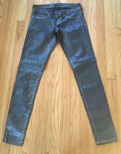 34.65$  Watch here - http://vievt.justgood.pw/vig/item.php?t=6lfkp0z34951 - Flying Monkey Women's Jeans Size 26 Slim Skinny Black Plastic Coated Metallic