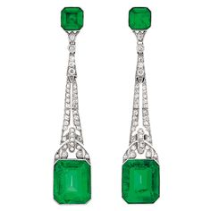 Pair of Art Deco Platinum, Simulated Emerald and Diamond Pendant-Earclips, circa 1920