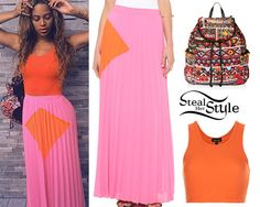 Beyonce posted a new instagram photo today wearing a Ribbed Cropped Vest ($12.00) in Orange and a Cuzco Backpack ($35.00), both from Topshop with a Line & Dot Sunburst Pleated Maxi Skirt ($90.00).