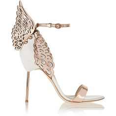 Sophia Webster Evangeline metallic and patent-leather sandals (8.801.480 IDR) ❤ liked on Polyvore featuring shoes, sandals, heels, footwear, patent sandals, metallic shoes, strappy sandals, patent leather sandals and heeled sandals