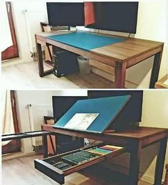Ultimate modular convertible IT computer and art table desk workstation with drawing board surface Diy Furniture, Furniture Design, Drawing Desk, Drawing Board, Artist Drawing Table, Drawing Tables, Art Desk, Home Projects, Sweet Home