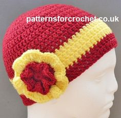 Free crochet pattern for adult beanie hat with frilled flower http://www.patternsforcrochet.co.uk/adult-beanie-usa.html #patternsforcrochet