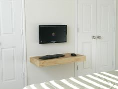 interior, Breathtaking Wooden Wall Shelf Idea And Fetching Computer Hook Idea At Nice White Wall Bedroom Color Design - The Beauty of Floating Wall Shelves for Small Rooms