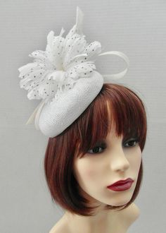 White Feathers, Button Flowers, Black Spot, Fascinators, Large White, Ladies Day, Pearl Beads, Hair Band, Silver Color