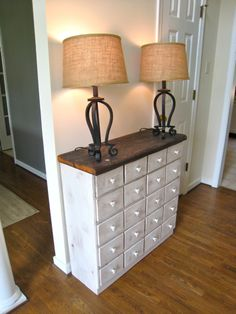 Apothecary chest made from pallets as described in Our Con{temporary} Home blog http://www.tommyandellie.com