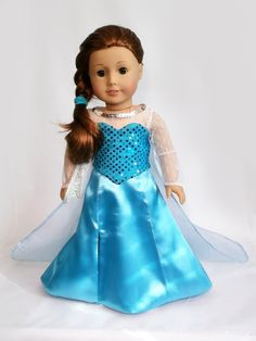 Turn your doll into snow Queen Elsa with this beautiful detailed dress made with satin, sequin and shiny organza fabric, full lined and Velcro closure. This listing is for the dress and corset only. T