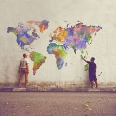 Rainbow World Map : World Globe : Maps : Painting : Street Art : Hand Painted : Bellerby and Co Globemakers www.bellerbyandco.com