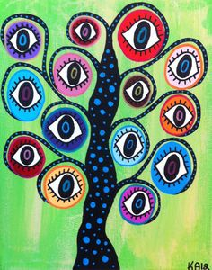Kerri Ambrosino Art NEEDLEPOINT Mexican Folk Art  Evil Eye Tree Hamsa Judaica Lime Green on Etsy, $22.99
