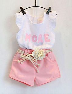 Girls Clothing Sets New Summer Girls Clothes Sleeveless T-shirt+Shorts Kids Clothing Sets For Years Baby Outfits, Girls Party Outfits, Girls Summer Outfits, Pink Outfits, Summer Girls, Summer Set, Summer Baby, Summer Time, Baby Girl Fashion