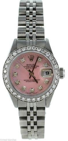 Rolex Ladies Datejust Steel Pink MOP Diamond Dial / Bezel