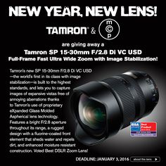 Here's your chance to win a Tamron 15-30 lens with image stability - for your Canon, Nikon or Sony SLR.