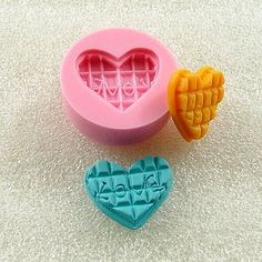 Waffle Heart LOVE Flexible Mini Mold/Mould (16mm) for Crafts, Jewelry, Scrapbooking, ( resin,  pmc,  polymer clay, Sculpey, Fimo Clay) (142)