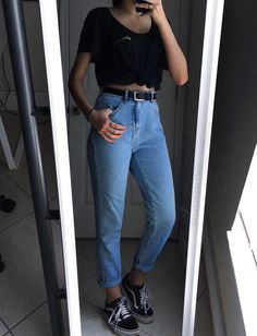 Black shirt, mom jeans & vans shoes by variousxvibes