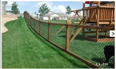 Latest idea for fence - chain link instead of welded wire. Still black PVC-coated, wood top and bottom. First quote - $8,000! Cmon....
