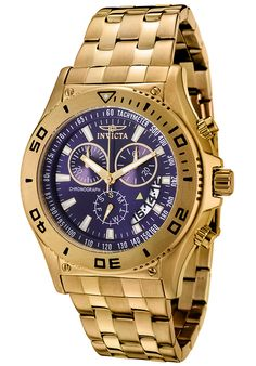Men's Invicta II Chronograph Blue Dial 18k Gold Plated
